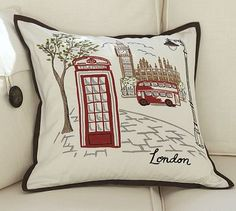 London Embroidered Pillow Cover #potterybarn     A great pillow for the travel enthusiast, or just the armchair traveler, this exquisitely embroidered pillow brings home all the nostalgia of Old London.
