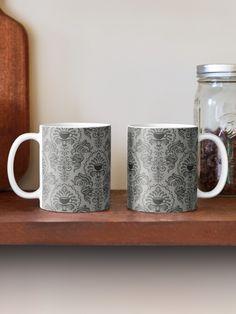 """Mug Damask"" Mug by ninthstreet   Redbubble Wall Art Prints, Poster Prints, Black And White Doodle, Black White, City Map Poster, Paris Map, Map Art, Elegant, Gifts In A Mug"