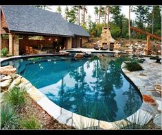 Combo stone decking, plus vegetation area = Pool swim up bar Design Ideas, Pictures, Remodel and Decor