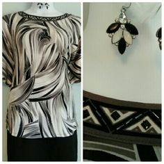 Dana Buchman Blouse Gray, black, and white blouse with Butterfly sleeves. Luxe and soft. Beaded detail around Collar.  Fashion earrings included free with purchase. Size says Medium, but it fits like a 16/18w. Dana Buchman Tops Blouses