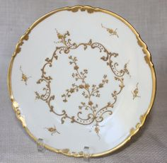 French Porcelain Limoges White and Gold Plates by PeriodElegance www.periodelegance.etsy.com