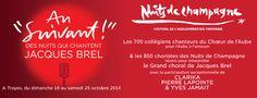 Festival Nuits de Champagne, Jacques Brel. Du 19 au 25 octobre 2014 à Troyes.