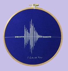 Sound Wave - Hoop Art / I Love You, Embroidery, Modern Craft, Gift / Design By Nephilim by NephilimShop on Etsy