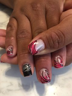 Pink zebra nails #gelnails