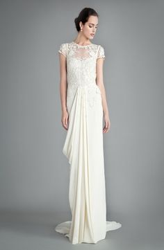 Temperley London - High Neck Sheath Gown in Embroidery