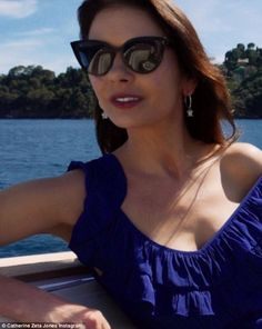 Holiday vibes: During her time in Portofino, she shared a number of snaps including a stunning selfie on a boat where she took in the gorgeous scenery