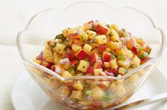 Peach Salsa    http://www.kraftrecipes.com/recipes/appetizers/salsa-recipes/main.aspx