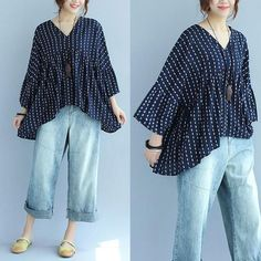 Printing Cotton Women Loose Casual Irregular Spring Navy Blue Shirt