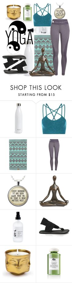 """Namaste Here"" by andrea-hiebert ❤ liked on Polyvore featuring S'well, Sweaty Betty, adidas, Pier 1 Imports, OY-L, sanuk, Jonathan Adler and Origins"