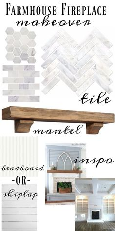 Farmhouse Fireplace makeover - Marble tile, barnwood mantel, shiplap or…