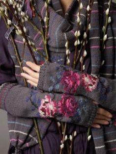 Rowan- fingerless gloves with pretty roses.