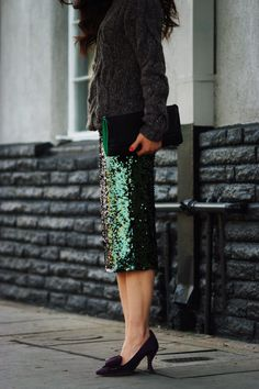 HallieDaily Chunky Sweater + Sequin Skirt + Prada Suede Bow Pumps