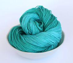 Hand Dyed Sock Yarn - Oakhampton 50/50 Merino Silk Sock Yarn - Lagoon in Aqua and Emerald by ClementineAndThread on Etsy