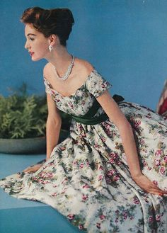 Summery floral loveliness, Vogue 1957