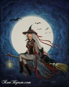 Folk Art HALLOWEEN WiTcH Cat Flying Across Full Moon by sunbyrum, $10.99