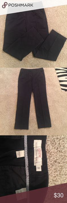 "J. Crew navy chinos J. Crew ""100% cotton broken in chinos"". They are ""favorite fit"" style and 100% cotton. Navy color. size 10. Never worn. The ankles are straight cut/ more boyfriend style J. Crew Pants"