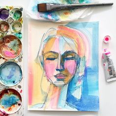 Colorful abstracted portrait in watercolor by Kristine Brookshire