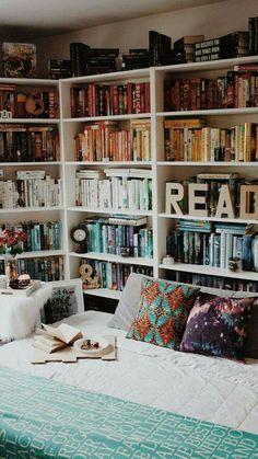 books in bedroom reading corners - books in bedroom ; books in bedroom decorating ideas ; books in bedroom bookshelves ; books in bedroom reading corners Dream Rooms, Dream Bedroom, Nerd Bedroom, Bedroom Nook, Kids Bedroom, Trendy Bedroom, My New Room, My Room, Home Libraries