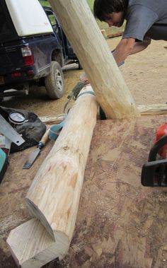 Cutting a round wood timber frame wind brace