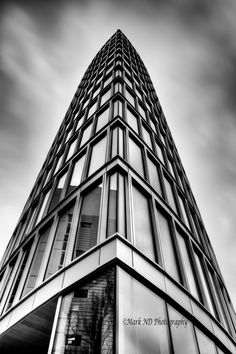 Black And White Modern Architecture Photography Glass tower bristol england