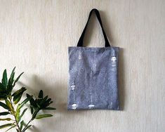 Cotton canvas tote bag for men Black and white tote bag for