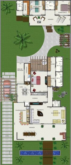Projeto de casa térrea de 1 quarto com 133,12m²