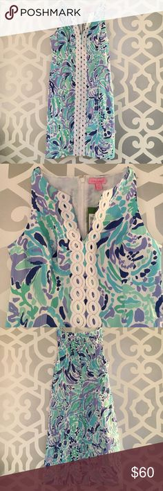 Lilly Pulitzer Ryder Shift Dress Nice Ink Brand New. Never worn. Lilly Pulitzer Ryder Shift in Lilly's Lilac Nice Ink Print. Size 00. Notch Neckline. White oval Lilly Lace Trim down center front. Invisible zipper in back. Cotton Vintage Dobby fabrication. Lined in cotton. Lilly Pulitzer Dresses
