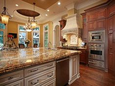 Large amount of counter space makes this kitchen great for preparing meals.