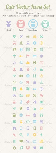 Icons - Cute Vector Icons Set | GraphicRiver