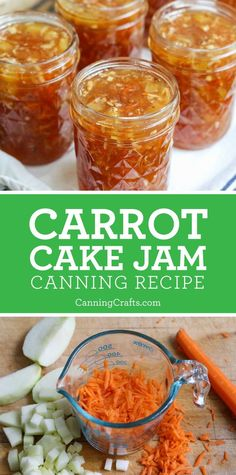 Guest blogger Chez LaRae created this festive Carrot Cake Jam water bath canning recipe. Carrot cake lovers, what if you could preserve the rich flavors of this delicious cake in a jar? Shredded orange carrots, chopped apples, juicy pineapples, coconut, and nuts suspended in a lovely spiced jam. Print the recipe card. Carrot Cake Jam, Carrot Jam Recipe, Carrot Recipes, Jelly Recipes, Jam Recipes, Cooking Recipes, Other Recipes, Snack Recipes, Snacks