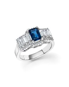 Sapphire and Diamond Baguette Ring in 14K White Gold - 100% Exclusive | bloomingdales.com
