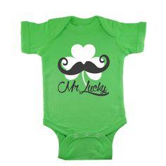 a6e0760de Mr Lucky Mustache in White Shamrock Green baby bodysuit by bodysuitsbynany  on Etsy Green Shirt