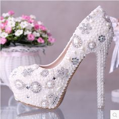 59.00$  Watch here - http://ali2w0.worldwells.pw/go.php?t=1491979276 - High quality luxury ivory pearl wedding shoes crystal high-heeled pumps women platform wedding shoes performance shoes