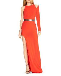 HALSTON HERITAGE Asymmetric Side Slit Gown   Bloomingdale's