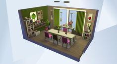 Nombre: Ikea Inspired Dining Room.    ¡Mira esta habitación en la galería de Los Sims 4! - Ein schwedisches Möbelhaus diente als Inspiration für dieses gemütliche #Esszimmer. Bon appétit. #ikea #modern #green #yellow #pink #brown #nocc #design #cool #light #dining #simple #cozy #wood #warm #family #cheap #small #coolkitchenstuff #outdoorretreat #gettowork