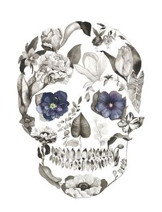 Sugar skulls - Hellebore by Sarah Voyer watercolor flower skull Floral Skull Tattoos, Sugar Skull Tattoos, Pretty Skull Tattoos, Skull Tattoo Flowers, Neue Tattoos, Body Art Tattoos, Cool Tattoos, Caveira Mexicana Tattoo, Boys With Tattoos