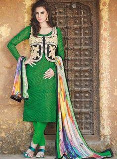 #Green Bhagalpuri #Silk #SalwarKameez Features on Bhagalpuri silk fabric top and bottom, heavy embroidery work on top and Fine printed chiffon fabric soft dupatta.