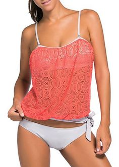Coral Spaghetti Strap Crochet Tankini Top With White Swim Bottom