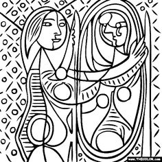 100% free coloring page of Pablo Picasso painting - Girl Before a Mirror. You be the master painter! Color this famous painting and many more! You can save your colored pictures, print them and send them to family and friends!