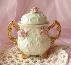 Shabby chic Vintage Floral Vase by happybdaytome on Etsy, $12.00