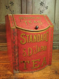 Awesome Early Old Antique Large Tin McLaughlins Tea General Store Bin – Red – Stenciled Advertising