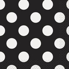 Black Polka Dot Beverage Napkins (16 Pack)