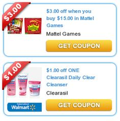 COUPONS.com $$ More New Printable Coupons: $1/1 Clearasil, Mattel & More (8/13)!