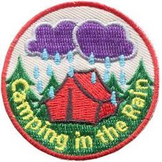 I think i have earned my first Boy Scout patch!!?.........Camping in the Rain Embroidered Iron On Patch Badge Emblem Scouts Guides BN E122