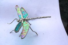 Iridescent turquoise dragonfly stained glass sculpture medium via Etsy
