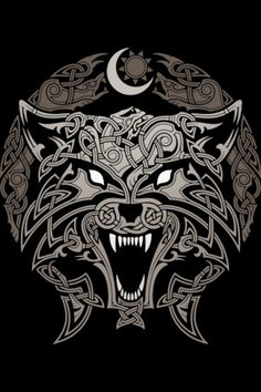 Tattoo wolf celtic symbols New ideas Fenrir Tattoo, Norse Tattoo, Celtic Tattoos, Viking Tattoos, Werewolf Tattoo, Wolf Tattoos, Body Art Tattoos, Art Viking, Viking Symbols