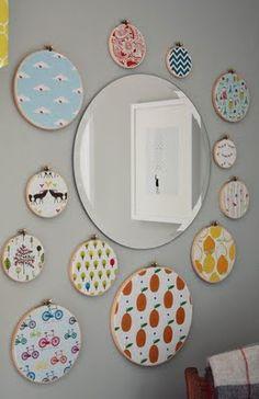 Embroidery hoop + fabric wall hangings