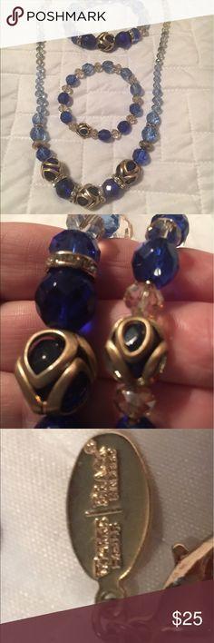 3 piece Necklace & bracelet set Beautiful Sapphire blue and gold jewelry set White House Black Market Jewelry Necklaces