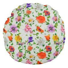 Wild Flowers Round Pillow - home gifts ideas decor special unique custom individual customized individualized