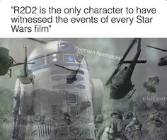 Technically no one witnessed ALL the events of every film. Both R2 and C-3PO were either asleep or has their memory wiped for parts of some of the movies. But they witnessed the most.